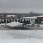На стадионе «Тобол» возводят шатер для новогодних гуляний СИБУРа