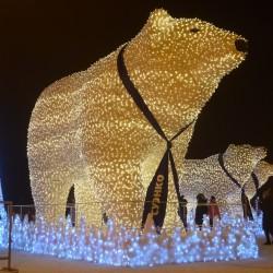 Светящихся белых медведей установили возле тобольского кремля. Фото